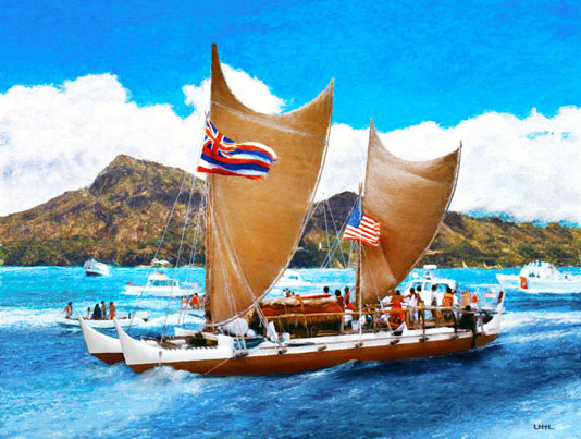 Painting of Hokulea by Phil uhl